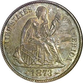 1873 S ARROWS 10C MS obverse