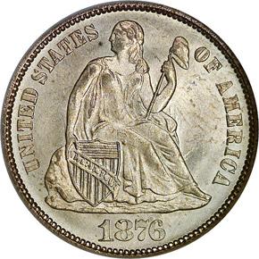 1876 10C MS obverse
