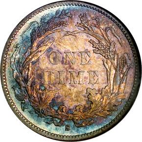 1884 S 10C MS reverse