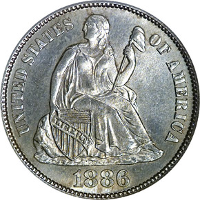 1886 S 10C MS obverse