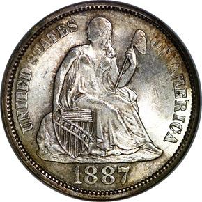 1887 10C MS obverse