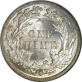 1888 S 10C MS reverse