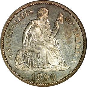 1890 S 10C MS obverse