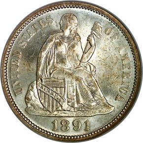 1891 10C MS obverse