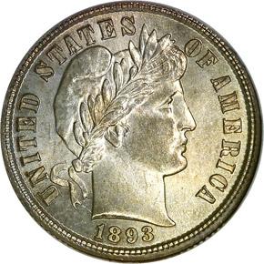 1893 10C MS obverse