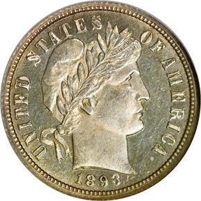 1893 O 10C MS obverse
