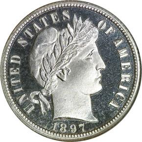 1897 10C PF obverse