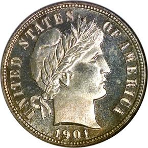 1901 10C PF obverse