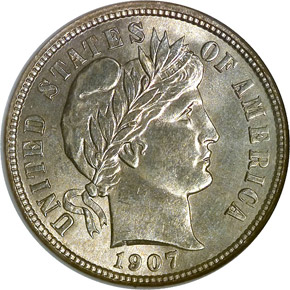 1907 S 10C MS obverse