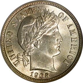1908 10C MS obverse
