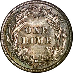 1909 D 10C MS reverse