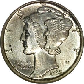 1935 D 10C MS obverse