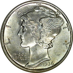 1936 S 10C MS obverse