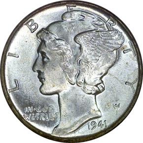1941 D 10C MS obverse
