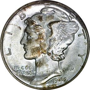 1942 D 10C MS obverse