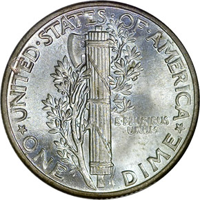 1943 10C MS reverse