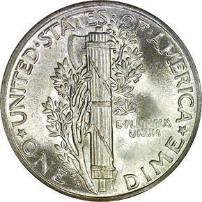 1945 D 10C MS reverse