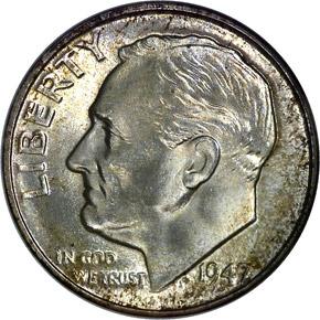 1947 D 10C MS obverse