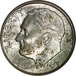 1949 D 10C MS obverse