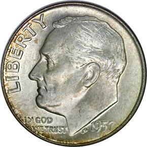 1957 D 10C MS obverse