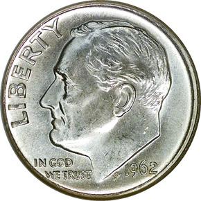 1962 D 10C MS obverse