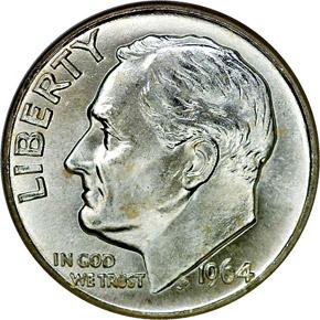 1964 D 10C MS obverse