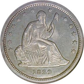 1839 25C MS obverse