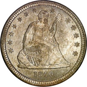1840 O DRAPERY 25C MS obverse