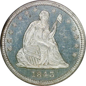 1843 25C MS obverse