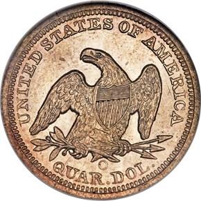 1855 O ARROWS 25C MS reverse