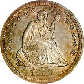 1857 S 25C MS obverse