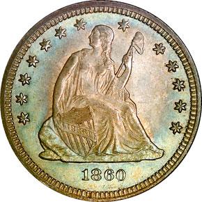1860 25C MS obverse