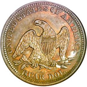 1860 O 25C MS reverse