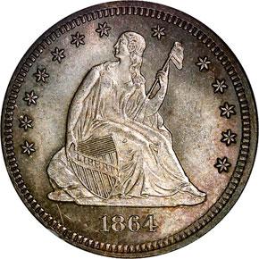 1864 25C MS obverse