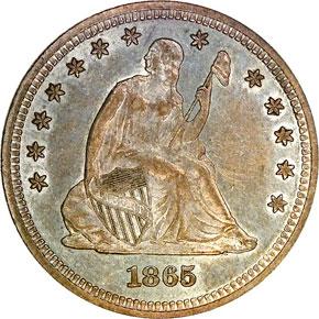 1865 25C MS obverse