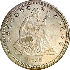 1865 S 25C MS obverse