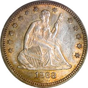 1868 25C MS obverse