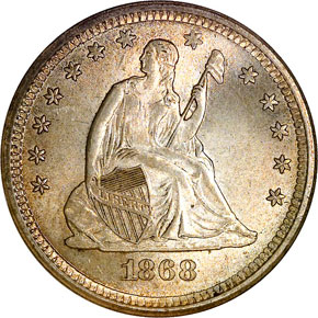 1868 S 25C MS obverse