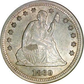 1869 S 25C MS obverse