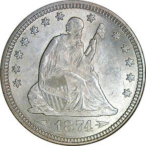 1874 ARROWS 25C MS obverse