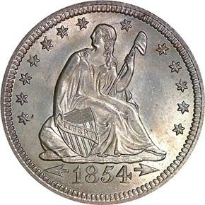 1854 ARROWS 25C MS obverse