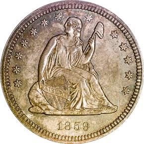 1859 25C MS obverse