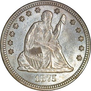 1875 CC 25C MS obverse