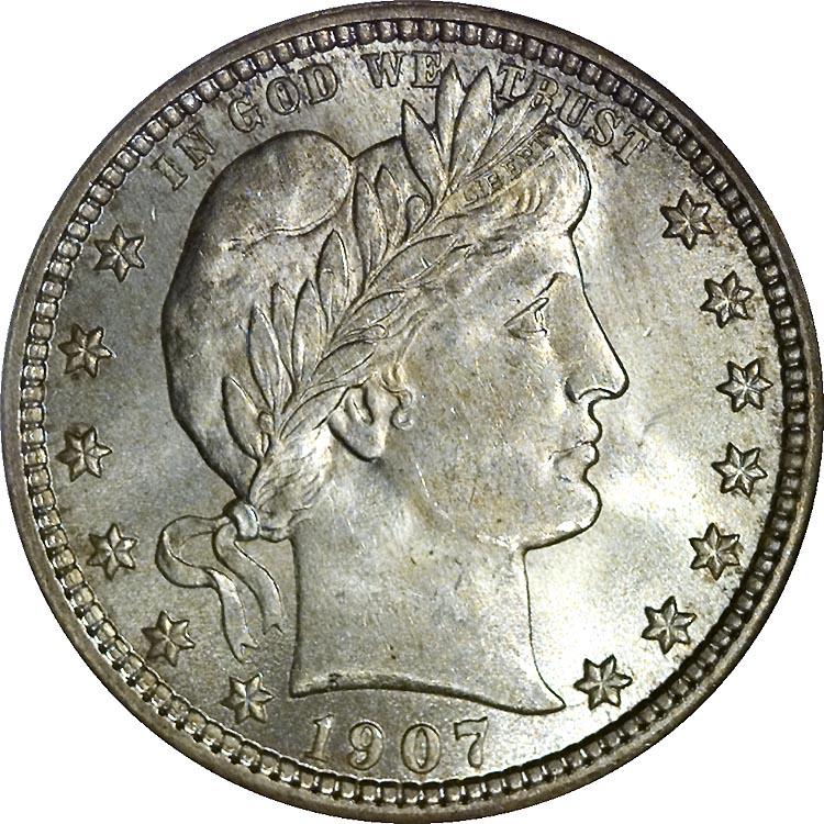 1907 25C MS Barber Quarters NGC