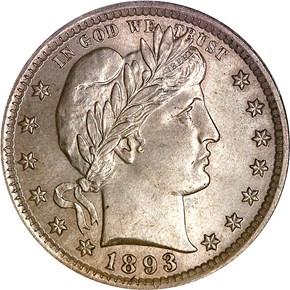 1893 25C MS obverse
