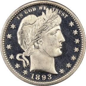1893 25C PF obverse