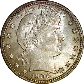 1908 25C MS obverse