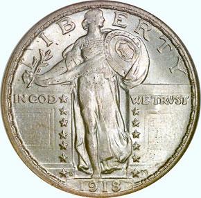 1918 D 25C MS obverse