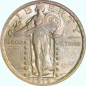 1919 D 25C MS obverse