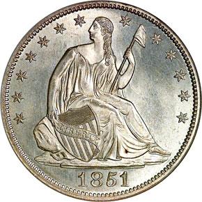 1851 50C MS obverse